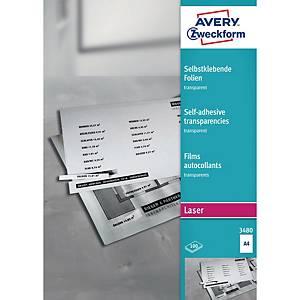 Avery Zweckform A4-es lézeres transzparens öntapadó fólia, 100 ív/csomag