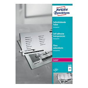Laserová transparentná samolepiaca fólia A4 Avery Zweckform, 100 ks