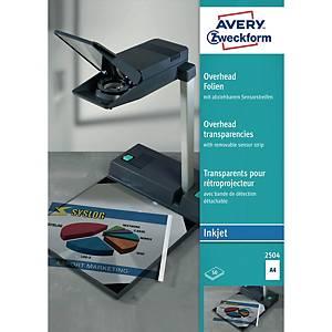 Overhead-Folie Avery Zweckform 2504, A4, transparent, Stärke: 0,11mm, 50 Stück
