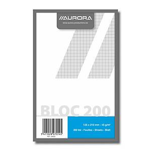Bloc brouillon Aurora, 135 x 210 mm, carreaux 5x5mm, collé en tête, 200 feuilles