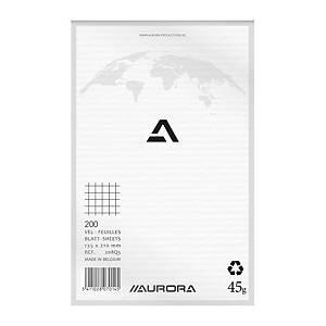 Aurora kladblok, 135 x 210 mm, geruit 5 x 5 mm, bovenaan gelijmd, 200 vellen
