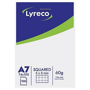 Bloky Lyreco A7, perforovaný, poznámkový, štvorčekový 5 x 5 mm, 100 listov