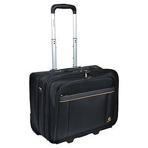 Görgős utazótáska, belső zsebbel a laptopnak, 15,6  fekete