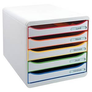 Exacompta Big Box Plus ladekast, 5 laden, A4+, wit en assorti kleuren