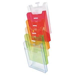 Exacompta muurdisplay met 6 vakken voor A4 documenten, assorti kleuren