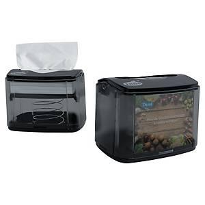 Duni dispenser voor servetten, 32 x 33 cm, transparant/zwart, per stuk