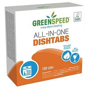 Caja de 100 pastillas Greenspeed todo en 1 para lavavajillas