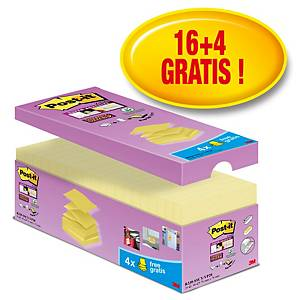 Post-it® Super Sticky Z-Notes voordeelpak S330-CYV, 76 x 76 mm, 16+4 GRATIS