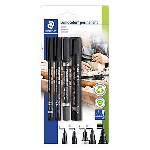 Staedtler Lumocolor permanente markers set, zwart, 4 markers per pak