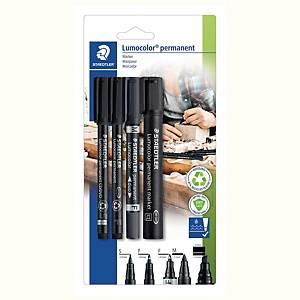 Zestaw markerów permanentnych STAEDTLER 60 BK Lumocolor, czarne, 4 sztuki