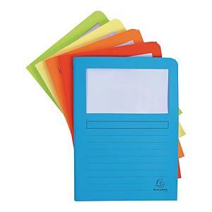 Folder kartonowy A4 EXACOMPTA z okienkiem, 160 g/m² miks kolorów, 50 sztuk