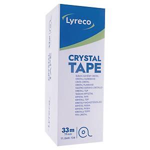 Tape Lyreco Crystal, 19 mm x 33 m, pakke à 8 ruller