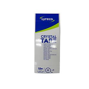 Pack de 8 rollos de cinta adhesiva transparente Lyreco Crystal - 19mmx33m