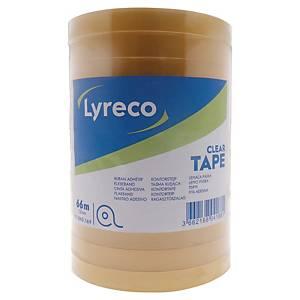 Lyreco budget tape, B 12 mm x L 66 m, per pak van 12 rolletjes plakband