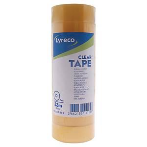 Taśma klejąca LYRECO Clear, przezroczysta, 19 x 33 mm, 8 sztuk