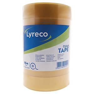 Lyreco átlátzsó ragasztószalag, 25mm x 66 m, 6 darab/csomag