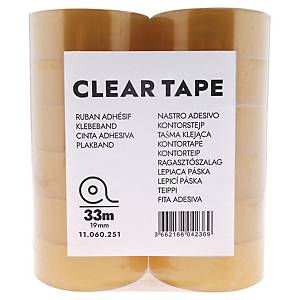 CLEAR TAPE 19MMX33M PACK OF 24