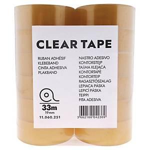 Lyreco budget tape, B 19 mm x L 33 m, per pak van 24 rolletjes plakband