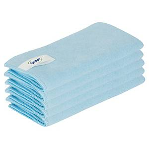 Chiffons en microfibres Lyreco, 40 x 40 cm, bleus, le paquet de 5 chiffons