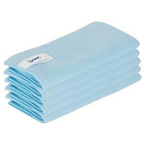 Lyreco microvezeldoeken, 40 x 40 cm, blauw, pak van 5 doeken