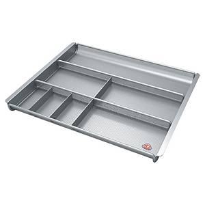Alba mesh organizer voor bureauladen, 7 compartimenten, metaal, zilverkleurig
