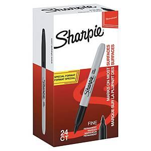 Permanent marker Sharpie, fine, sort, boks af 20 + 4 stk.