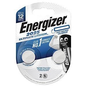 Knapcelle batterier Energizer Ultimate Lithium CR2025, pakke a 2 stk.