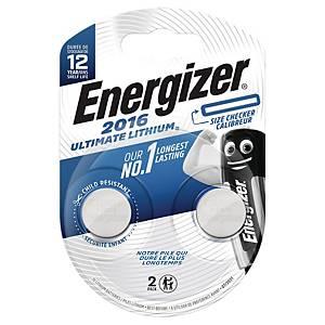 Knapcelle batterier Energizer Ultimate Lithium CR2016, pakke a 2 stk.
