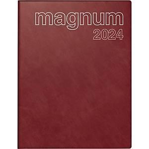 Buchkalender 2021 ide 27042 Magnum, 1 Woche / 2 Seiten, 18,3x24cm, bordeaux
