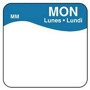 Removable Labels  Monday  Blue - Pack of 1000