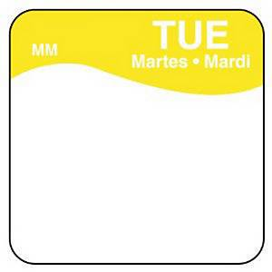 Removable Label  Tuesday  Yellow - Pack of 1000