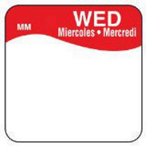 Removable Labels  Wednesday  Red - Pack of 1000