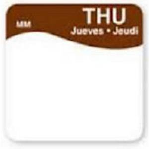 Removable Labels  Thursday  Brown - Pack of 1000