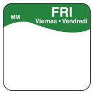 Removable Labels  Friday  Green - Pack of 1000