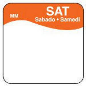 Removable Labels  Saturday  Orange - Pack of 1000
