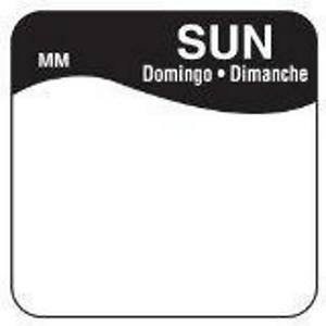 Removable Labels  Sunday  Black - Pack of 1000