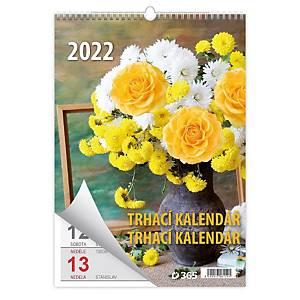 Flowers - měsíční mezinárodní kalendárium, 14 listů, 31,5 x 45 cm