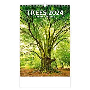 Stromy - měsíční mezinárodní kalendárium, 14 listů, 31,5 x 45 cm