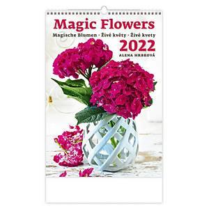 Živé květy - měsíční mezinárodní kalendárium, 14 listů, 31,5 x 45 cm