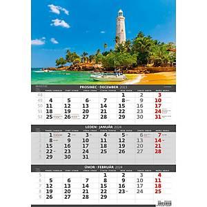 Pobřeží- české/slovenské tříměsíční kalendárium, 12 listů, 31,5 x 45 cm