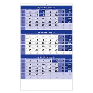 Trojmesačný kalendár modrý s menným kalendáriom - 12 listov, 31,5 x 45 cm