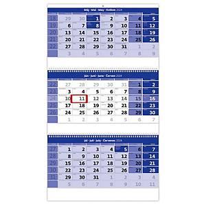 Trojmesačný kalendár modrý so špirálou - 3 x 12 listov, 31,5 x 55,5 cm