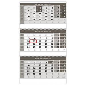 Trojmesačný kalendár šedý so špirálou - 3 x 12 listov, 31,5 x 55,5 cm