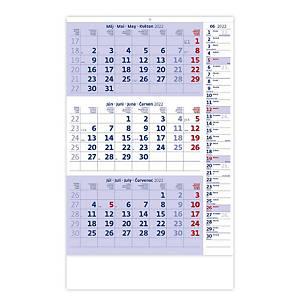 Trojmesačný kalendár modrý s poznámkami - 12 listov, 31,5 x 45 cm