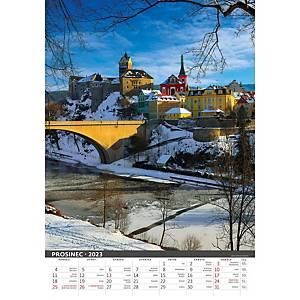 Česká republika - české měsíční jmenné kalendárium, 14 listů, 31,5 x 45 cm