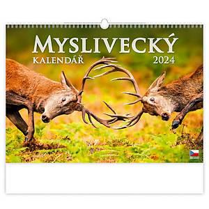 Myslivecký kalendář - české měsíční jmenné kalendárium, 14 listů, 31,5 x 45 cm