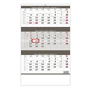 Tříměsíční kalendář šedý se jmenným kalendárium - 12 listů, 31,5 x 45 cm