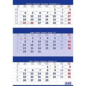 Tříměsíční kalendář modrý se jmenným kalendárium - 12 listů, 31,5 x 45 cm