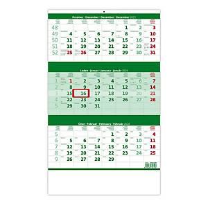 Tříměsíční kalendář zelený se jmenným kalendárium - 12 listů, 31,5 x 45 cm
