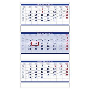 Tříměsíční skládaný modrý - české kalendárium, 3 x 12 listů, 31,5 x 55,5 cm